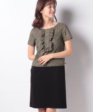 刺繍入りスパンボイル×ポンチドッキング ドレス
