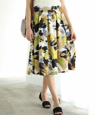 アートフラワープリントギャザースカート