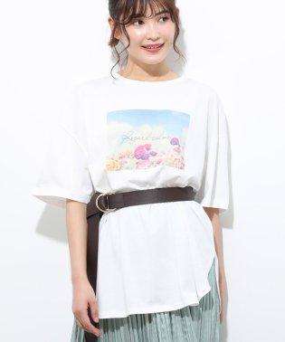 フラワーフォトチュニックTシャツ