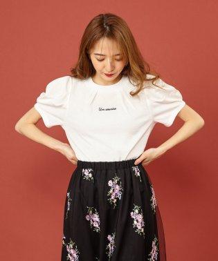 ロゴ刺繍タックラメTシャツ