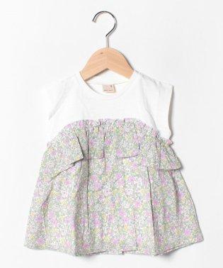 小花柄切り替えチュニックTシャツ