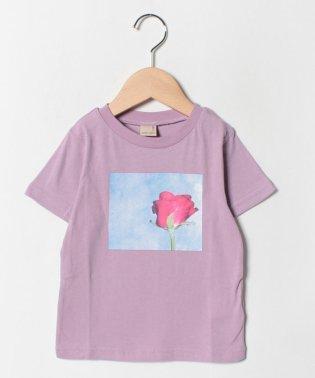 バラフォトプリントTシャツ