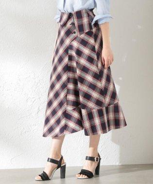 【LOVELESS】WOMEN アシンメトリーチェックスカート