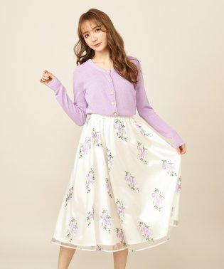 カラー刺繍ミモレスカート