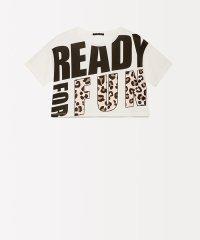 レタリングプリントショート丈半袖Tシャツ