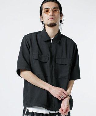 変形ハニカムZIPワイドシャツ