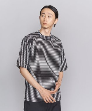 BY ボーダー モックネック 樽型 Tシャツ -MADE IN JAPAN-