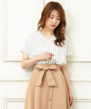 開襟トロミ裾タック/半袖シャツ