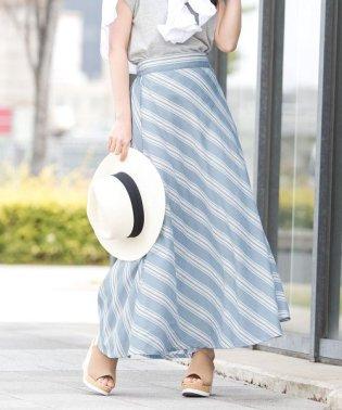 斜めマルチストライプフレアスカート