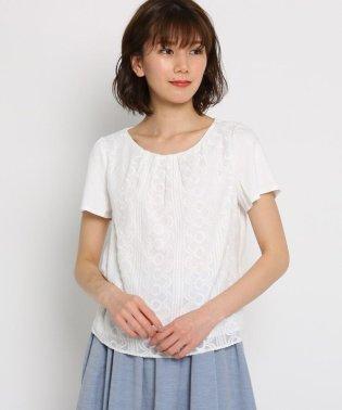 【洗える】シフォンレース スムースTシャツ