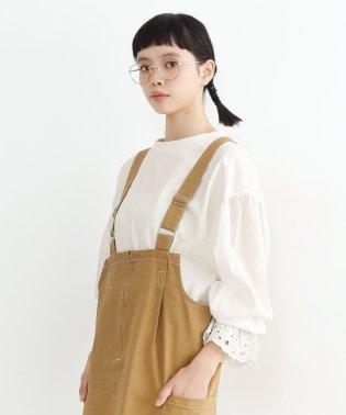 カットワーク刺繍袖スタンドネックプルオーバー