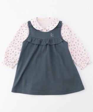 【80~90cm】シックフラワーカットソー+ジャンパースカート 2点セット