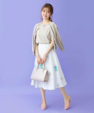 コットンレースフラワー刺繍フレアスカート