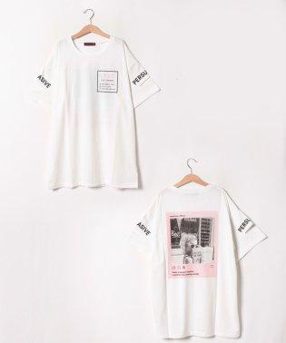 バックプリント転写ロング丈Tシャツ
