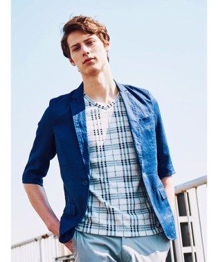 リネン1釦7分袖シングルジャケット