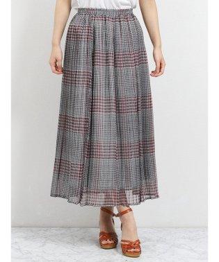 楊柳チェック プリーツロングスカート
