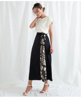 サイドスカーフ柄ラップスカート
