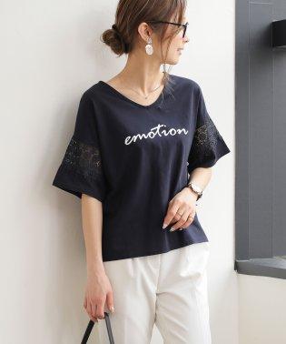 emotionロゴプリント袖レース半袖Tシャツ