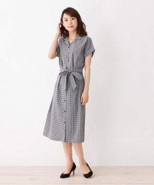 【吸水速乾・42(LL)WEB限定サイズ】ウエストリボン付チェックワンピース