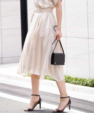【洗濯機で洗える】ハンカチーフヘム ストライプ柄スカート