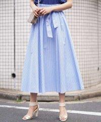 【洗える】ストライプ柄ベルト付きロングスカート