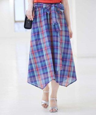 マドラスチェックフレアラップスカート