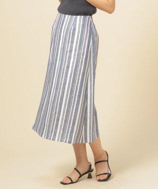 リネンツイルマルチストライプAラインスカート