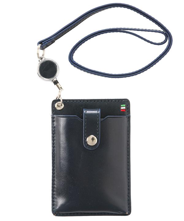 イタリアンレザーリール付きIDカードホルダー