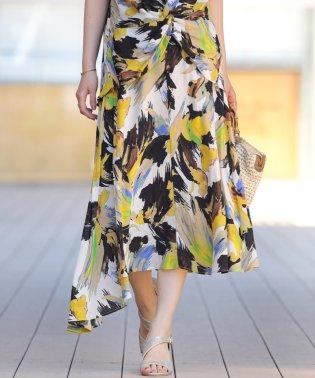 【セットアップ対応商品】ボタニカル柄アシンメトリースカート