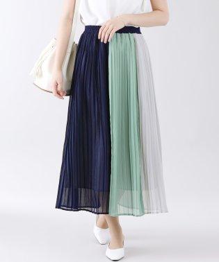楊柳配色プリーツロングスカート