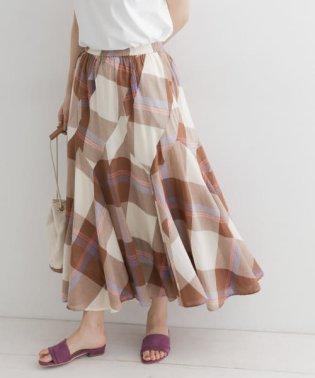 フレアチェックロングスカート