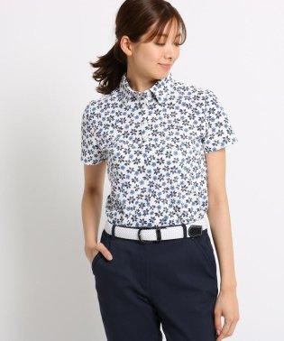 ボタニカル柄半袖ポロシャツ レディース