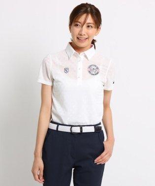 シャドーダイヤ柄半袖ポロシャツ レディース