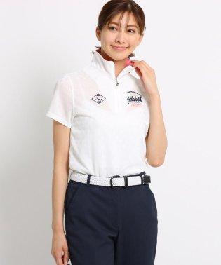 シャドーダイヤ柄半袖ハーフジップポロシャツ レディース
