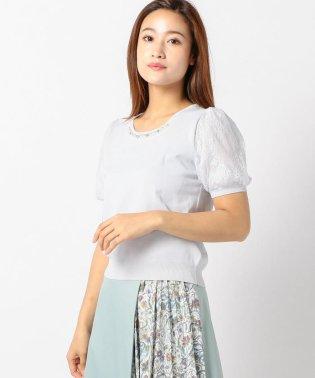 装飾チュール半袖ニット