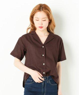 綿麻無地オープンカラー半袖シャツ