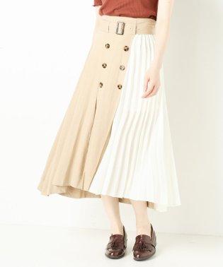 麻部分プリーツトレンチスカート