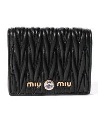 【MIUMIU】2つ折り財布/マテラッセ クリスタル【BLACK】
