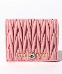 【MIUMIU】2つ折り財布/マテラッセ クリスタル【ROSA】