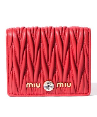 【MIUMIU】2つ折り財布/マテラッセ クリスタル【RED】