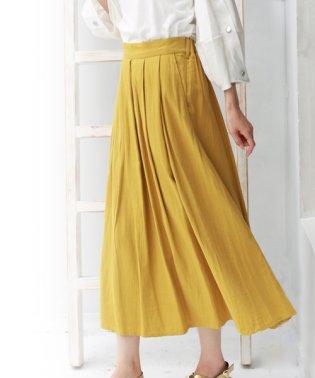 綿麻タックロングスカート
