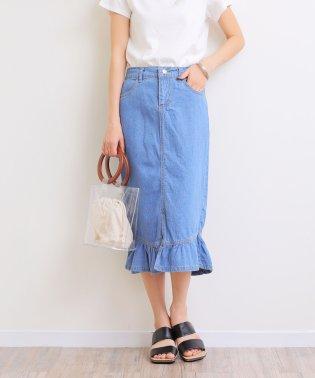 デニム裾フレアタイトスカート