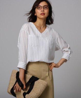 [L]【洗える】クルーズストライプダブルポケットシャツ
