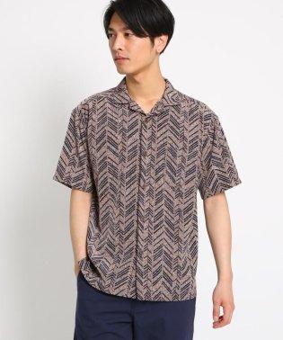 柄開襟半袖シャツ