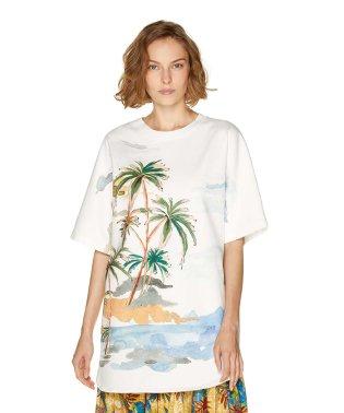 コットントロピカル柄ビッグ半袖Tシャツ・カットソー