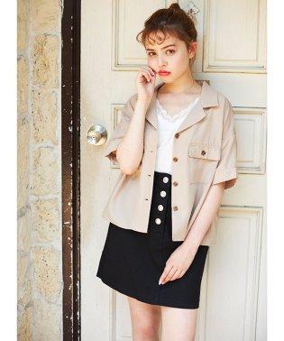 フラップポケット前ボタン台形スカート