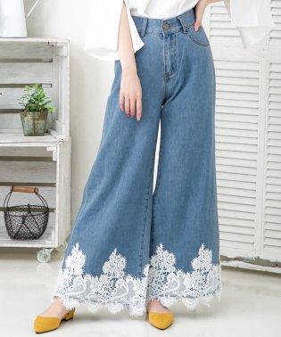 裾刺繍レース付きデニムワイドパンツ/510261