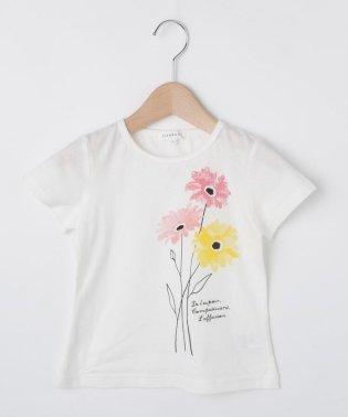 【コットン100%】【90cm~150cm】水彩フラワープリントTシャツ