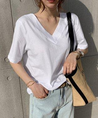 NANING9(ナンニング)Vネック半袖Tシャツ
