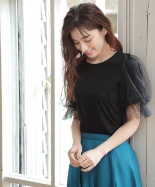 ★【洗濯機で洗える】ストライプチュールパフ袖カットソー
